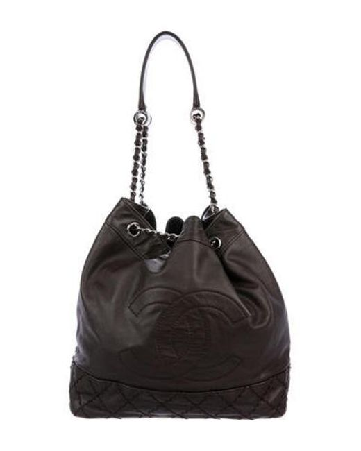 f56076806f43 Chanel - Metallic Surpique Drawstring Bucket Bag Silver - Lyst ...