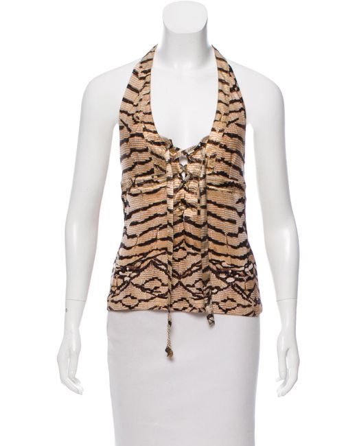 Roberto Cavalli - Brown Animal Print Halter Top - Lyst