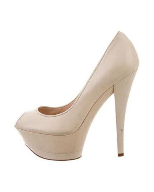 23d6f4b15 Casadei - Natural Peep-toe Platform Pumps Cream - Lyst ...
