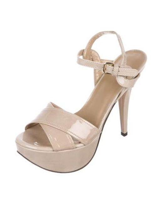 8b1ed3323f1 ... Stuart Weitzman - Natural Patent Leather Platform Sandals Beige - Lyst  ...