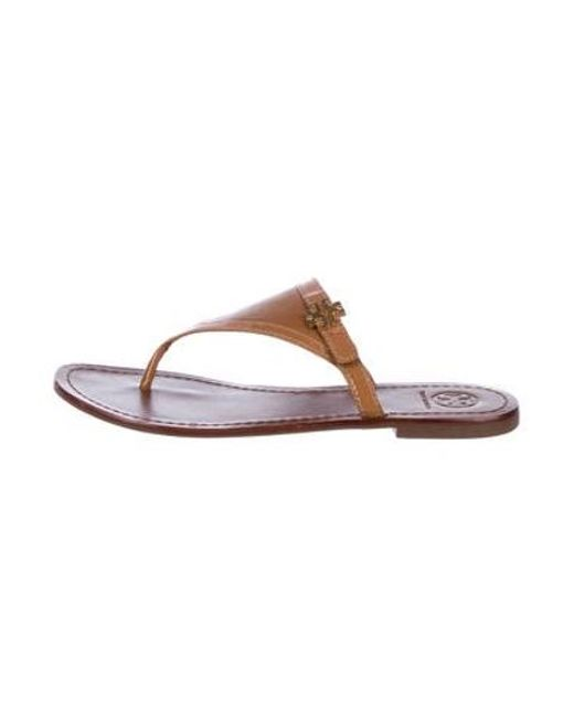 394041d4ba6e23 Tory Burch - Brown Leather Thong Sandals - Lyst ...