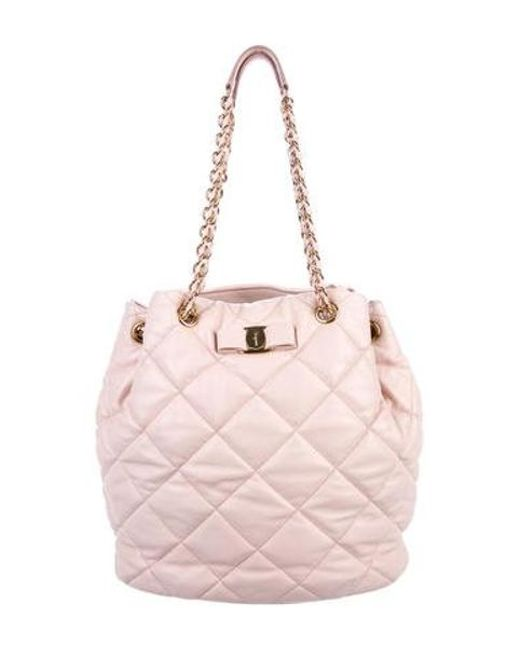 051f1a9fea2 Ferragamo - Metallic Quilted Nappa Shoulder Bag Pink - Lyst ...