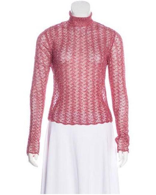 John Galliano - Pink Lurex Mock Neck Sweater - Lyst ... 29f36be89