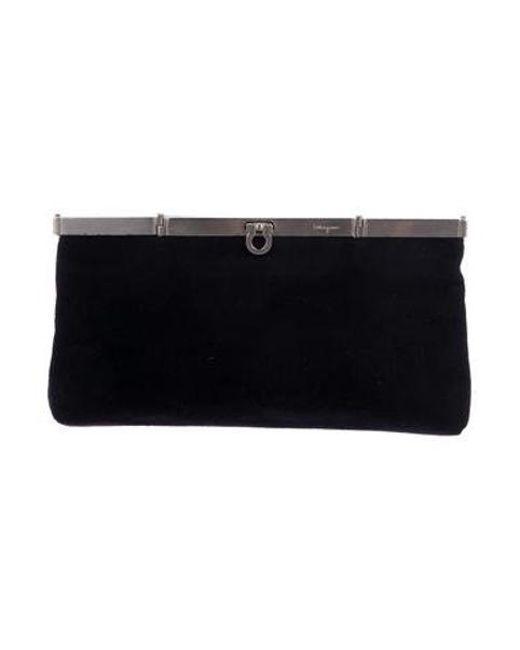 48bf58b96c59 Ferragamo - Metallic Wool Frame Clutch Black - Lyst ...