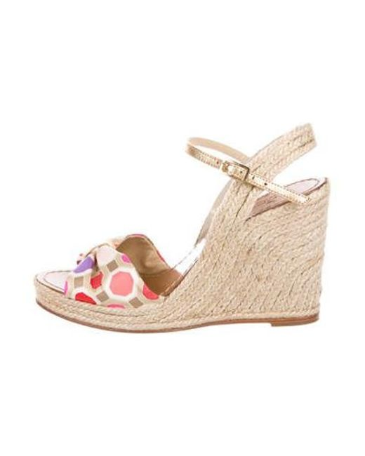 462fa7960a4f Kate Spade - Metallic Bow Espadrille Wedges Pink - Lyst ...