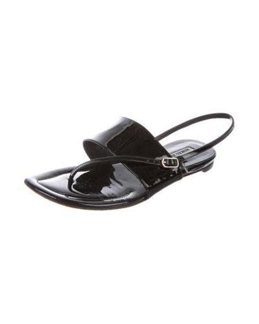 60676ec846d95 ... Manolo Blahnik - Black Patent Leather Thong Sandals - Lyst ...