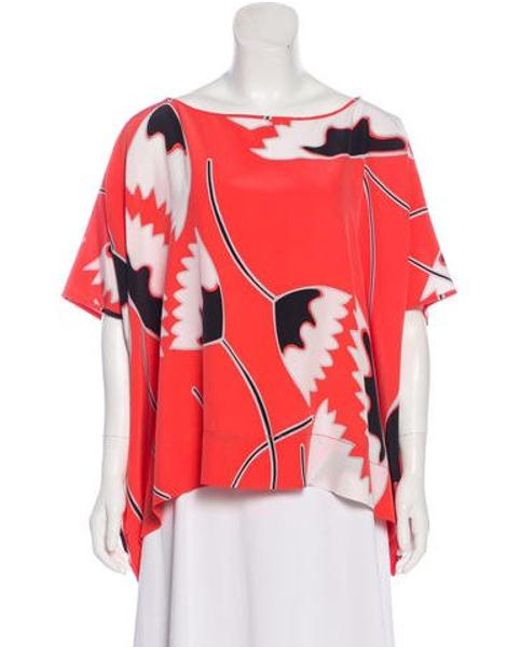 88c68c44744186 Diane von Furstenberg - Red New Hanky Silk Top Coral - Lyst ...
