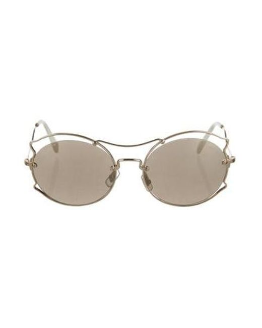 f3458fca4715 Miu Miu - Metallic Miu Mirrored Round Sunglasses Gold - Lyst ...