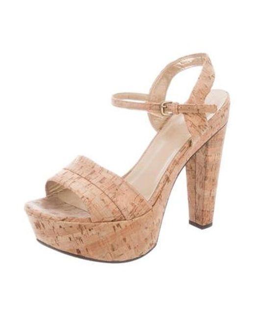 aa3bbcf8c92 ... Stuart Weitzman - Natural Platform Metallic Sandals Tan - Lyst ...