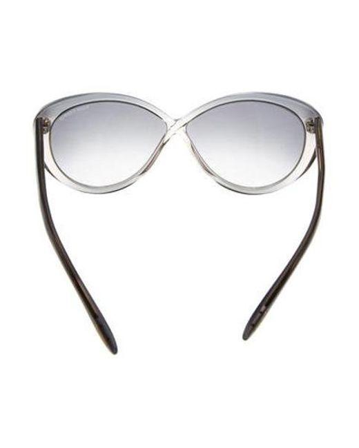 e561be1dabd6 ... Tom Ford - Metallic Madison Cat-eye Sunglasses Grey - Lyst ...