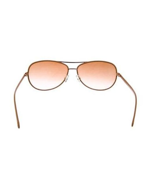 fce16b9973dcf ... Tory Burch - Metallic Tinted Aviator Sunglasses Orange - Lyst ...