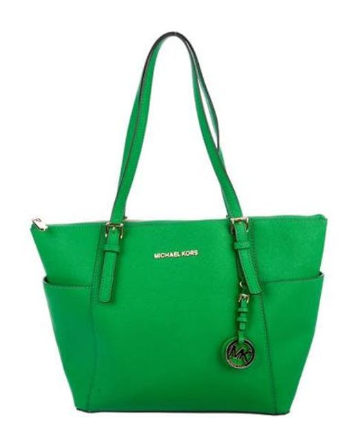 c9fbaa2c10d9 MICHAEL Michael Kors - Metallic Michael Kors Jet Set Leather Tote Green -  Lyst ...