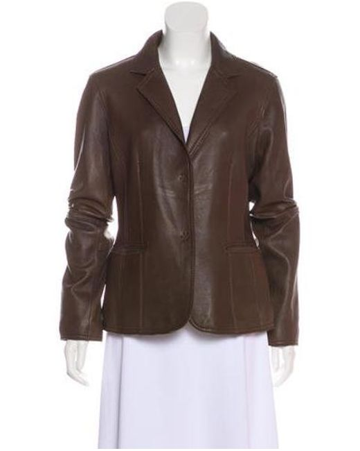 MICHAEL Michael Kors - Brown Michael Kors Notch-lapel Leather Jacket - Lyst