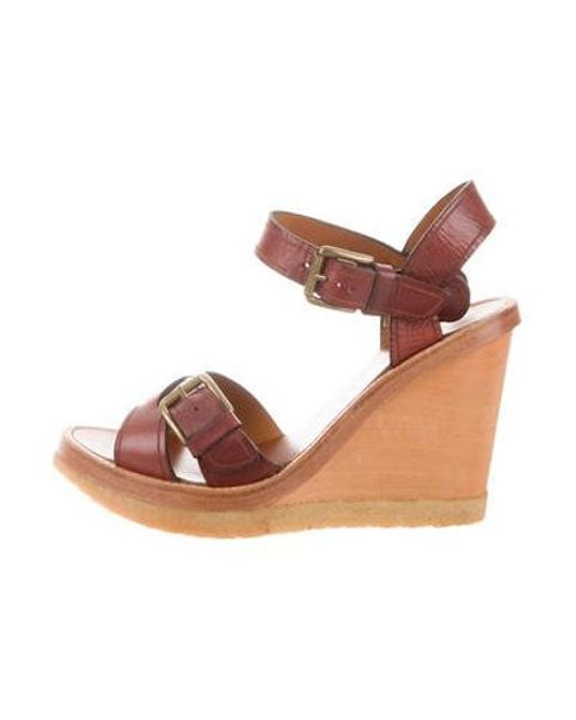 bd94b9bef68 Isabel Marant - Brown Leather Platform Wedges - Lyst ...
