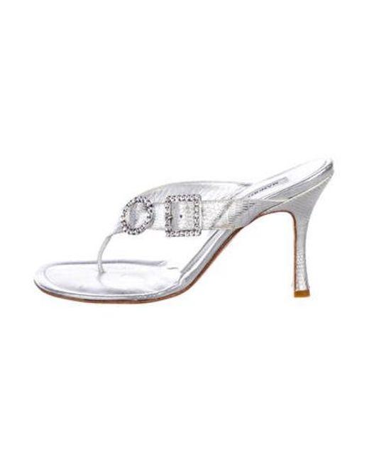edaba7d6e66 Manolo Blahnik - Metallic Lizard Embellished Sandals Silver - Lyst ...
