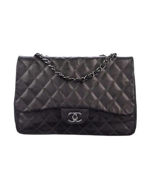 Chanel - Gray Classic Jumbo Single Flap Bag - Lyst ... 0bf9afc01780a