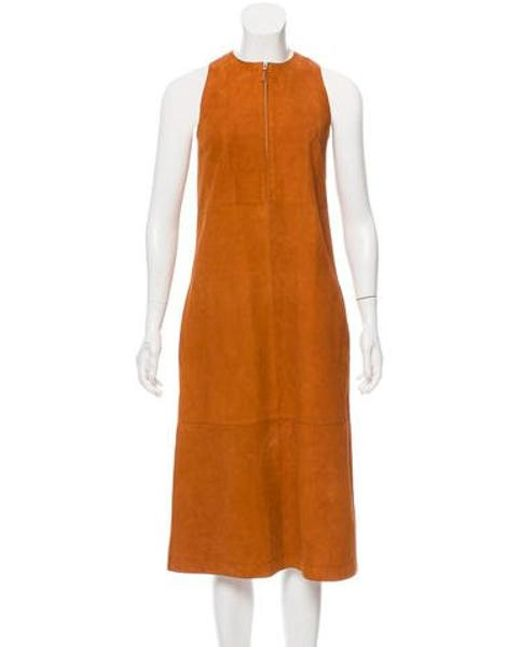 The Row - Brown Ronston Suede Dress W/ Tags - Lyst