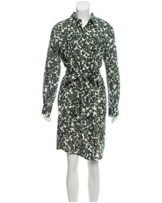 b46a237d0a Tory Burch - Green Long Sleeve Print Shirtdress - Lyst ...