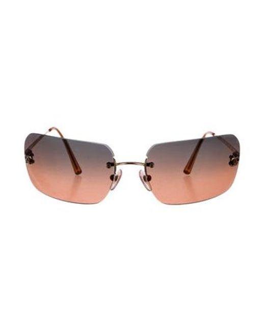 b81807269255 Chanel - Metallic Rimless Cc Sunglasses Gold - Lyst ...