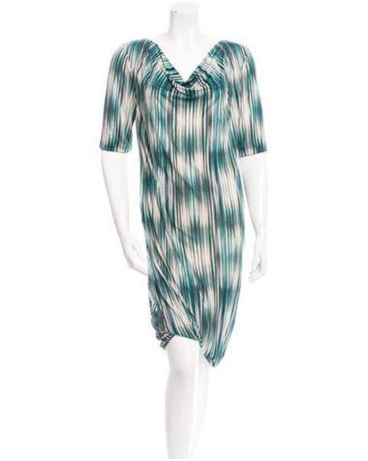 Ports 1961 - Green Silk Printed Dress - Lyst