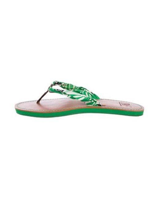 b8f48fd7e1c96 Diane von Furstenberg - Green Printed Thong Sandals - Lyst ...