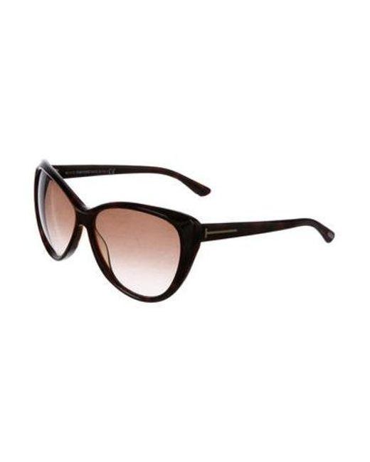 501bf47f2da ... Tom Ford - Metallic Malin Cat-eye Sunglasses Brown - Lyst ...