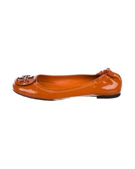 9866cde65dde Lyst - Tory Burch Reva Patent Leather Flats Orange in Orange