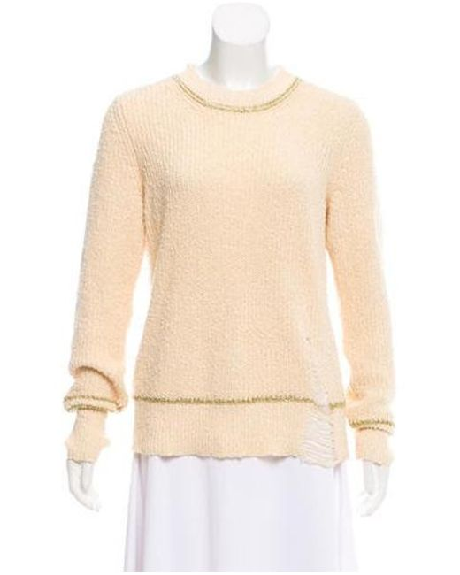 Raquel Allegra - Metallic Long Sleeve Distressed Sweater Gold - Lyst