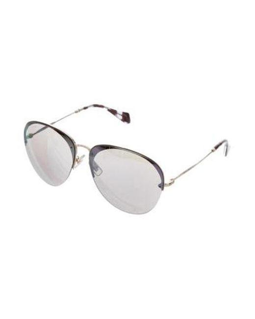 16de1660e ... Miu Miu - Metallic Miu Mirrored Round Sunglasses Gold - Lyst ...
