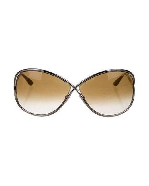 77dc61b0d8a49 Tom Ford - Metallic Oversize Gradient Sunglasses Brown - Lyst ...