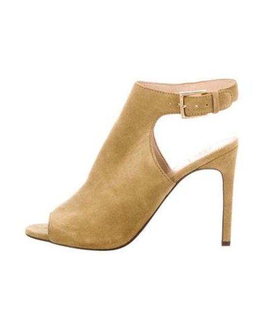 1f05aebae Tory Burch - Green Suede Peep-toe Sandals Olive - Lyst ...