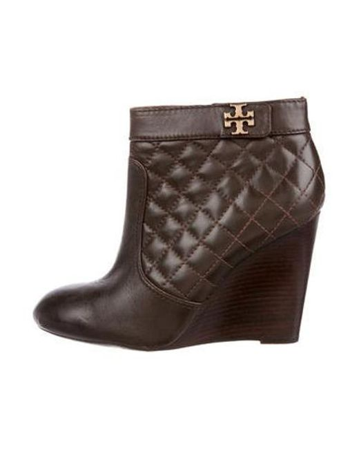 63b5f9f8c6d Tory Burch - Metallic Leather Wedge Boots Gold - Lyst ...