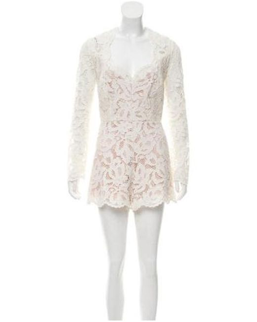 56153848ee3 Alexis - White Lace Long Sleeve Romper - Lyst ...