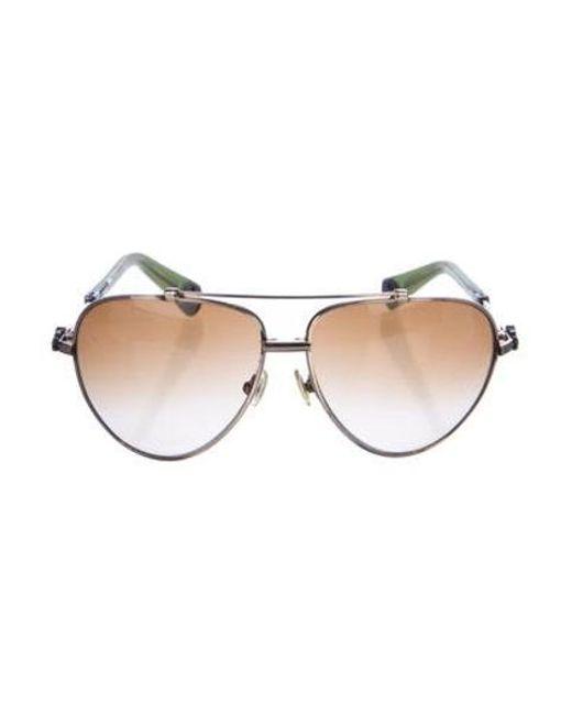 54538576d4b3 Chrome Hearts - Metallic Stoned Aviator Sunglasses Gold - Lyst ...