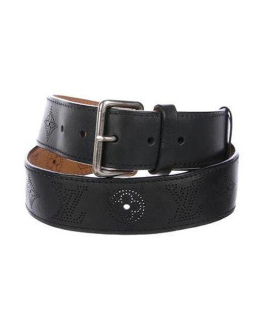 6bf9aab0ff5f Louis Vuitton - Metallic Mahina Leather Belt Black for Men - Lyst ...