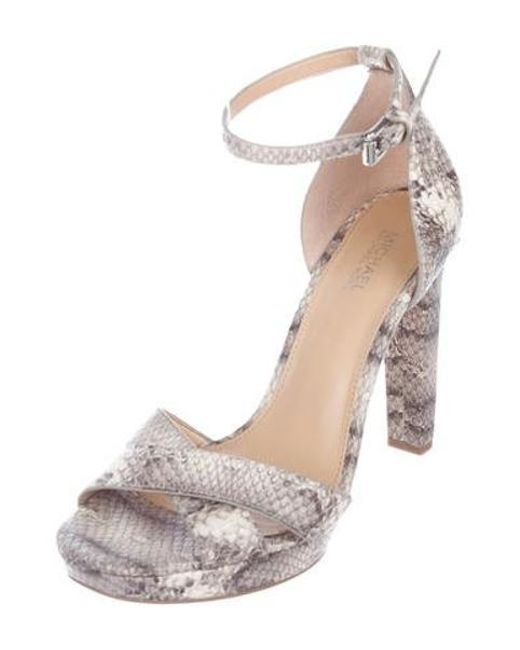 d382a3c41bc1 ... MICHAEL Michael Kors - Gray Michael Kors Animal Print Leather Sandals  Grey - Lyst ...