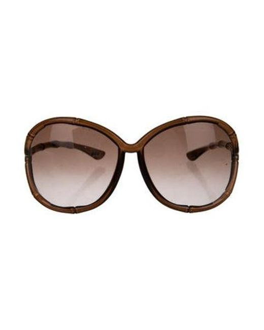 f3c30b294a1 Tom Ford - Metallic Claudia Oversize Sunglasses Brown - Lyst ...
