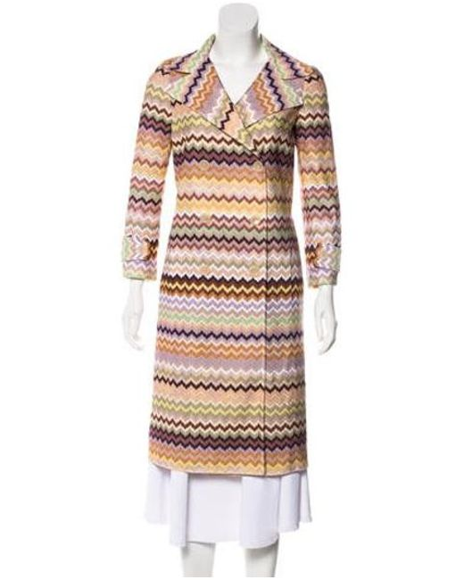 Missoni - Double-breasted Chevron Coat Multicolor - Lyst