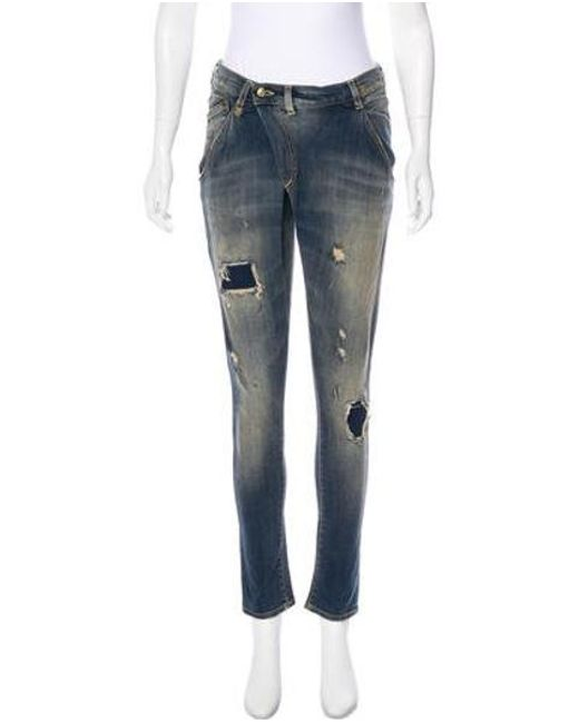 R13 - Blue X-over Mid-rise Skinny Jeans - Lyst