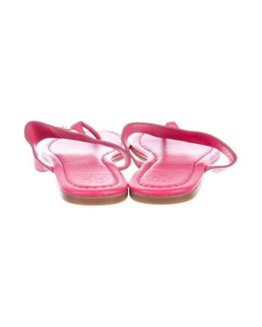 f93ec185afee8 ... Tory Burch - Metallic Leather Thong Sandals Pink - Lyst