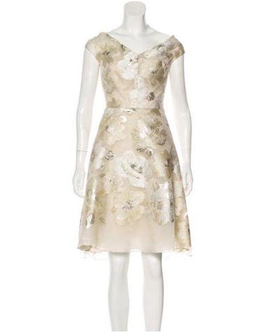 13cbbb818930 Lela Rose - Metallic Brocade Knee-length Dress Champagne - Lyst ...
