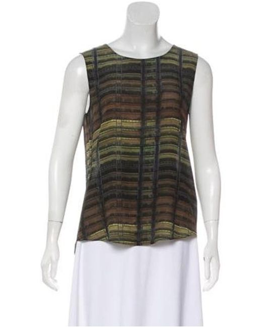 39e8aeb2349795 Lyst - Theyskens' Theory Printed Silk Top Olive in Green