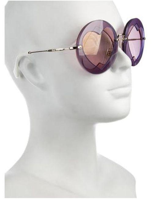 8a632b9bf8d ... Miu Miu - Purple Miu Round Tinted Sunglasses - Lyst