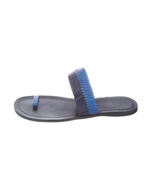 e10c1f2984ef Tory Burch - Black Leather Slide Sandals - Lyst ...