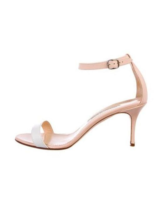 e5553ac4706 Manolo Blahnik - Natural Leather Ankle-strap Sandals Nude - Lyst ...
