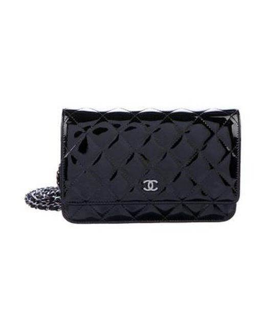 4f5a481eb035 Chanel - Metallic Patent Wallet On Chain Black - Lyst ...