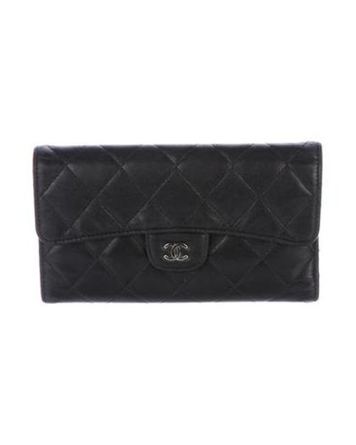 20e78d60edda Chanel - Metallic Quilted Trifold Wallet Black - Lyst ...
