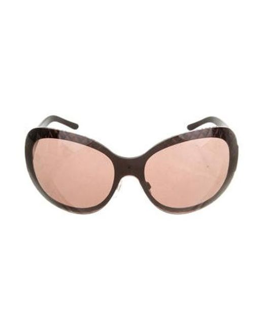 cbe8b447042 Chanel - Brown Quilted Oversize Sunglasses - Lyst ...