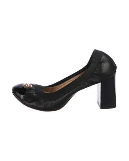 d89c785c65a639 Tory Burch - Metallic Leather Cap-toe Pumps Black - Lyst ...