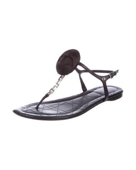 44fa63457d4c8 ... Dior - Metallic Leather Cannage Sandals Black - Lyst ...